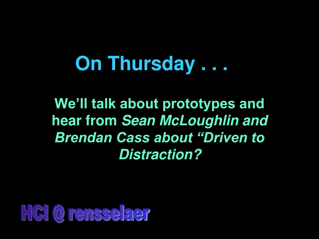 On Thursday . . .