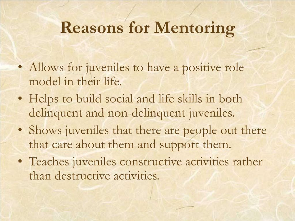 Reasons for Mentoring