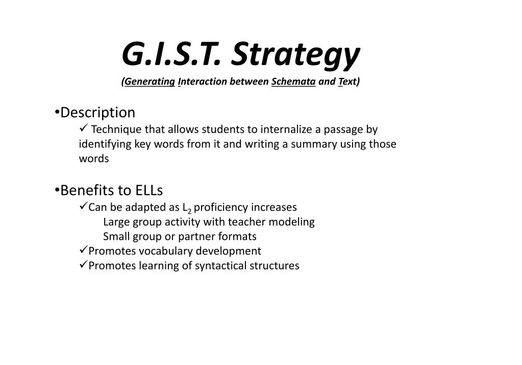 G.I.S.T. Strategy