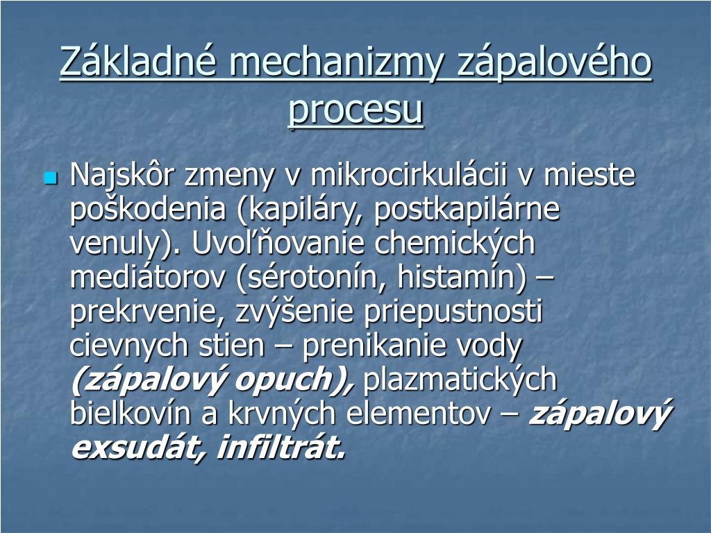 Základné mechanizmy zápalového procesu