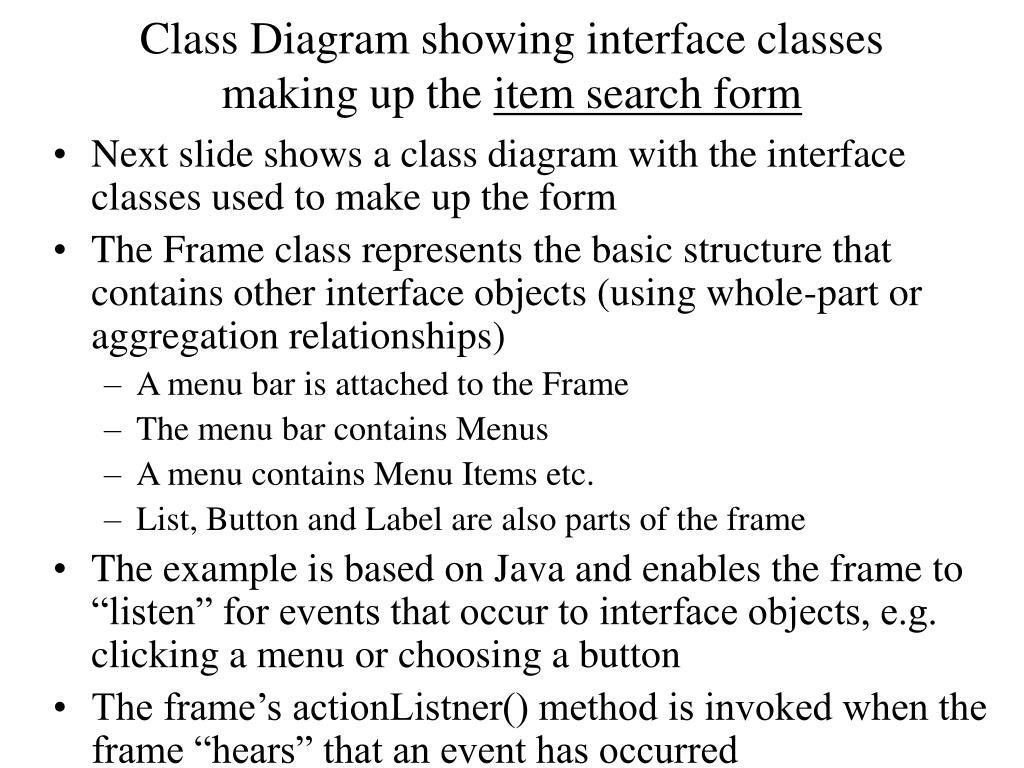 Class Diagram showing interface classes making up the