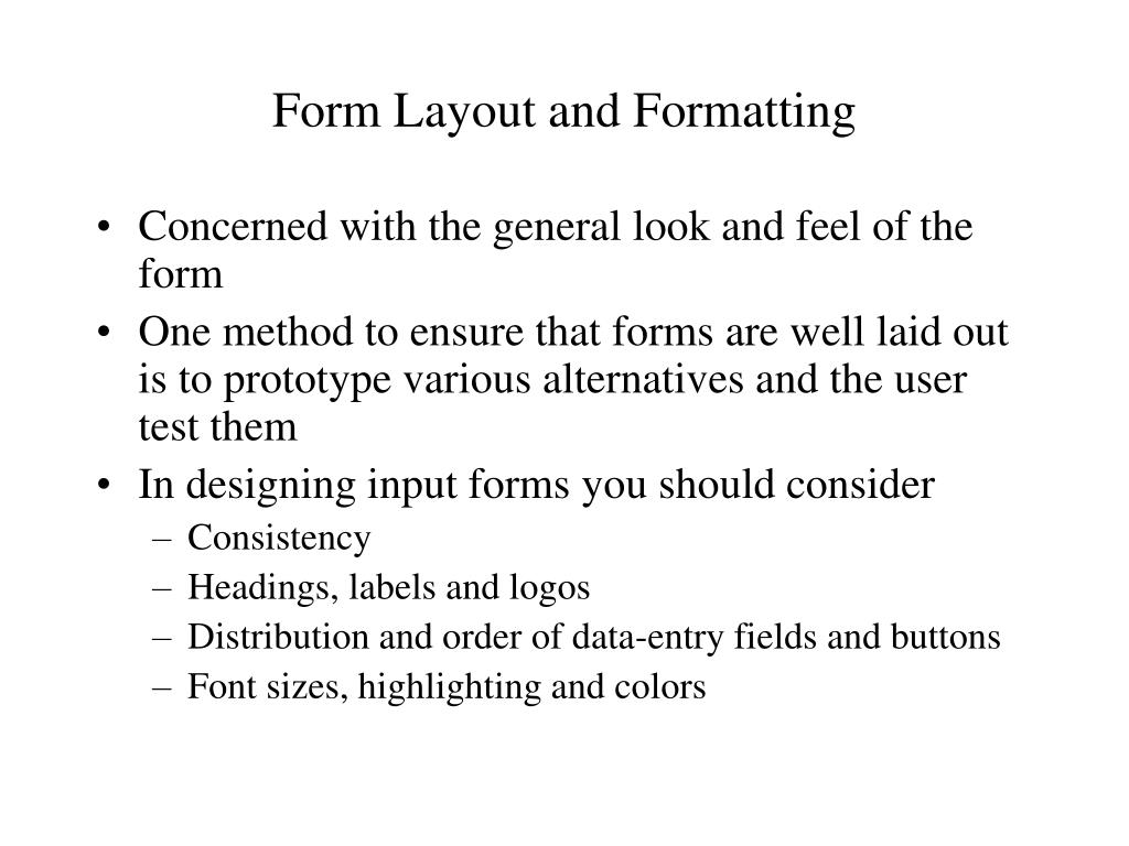 Form Layout and Formatting