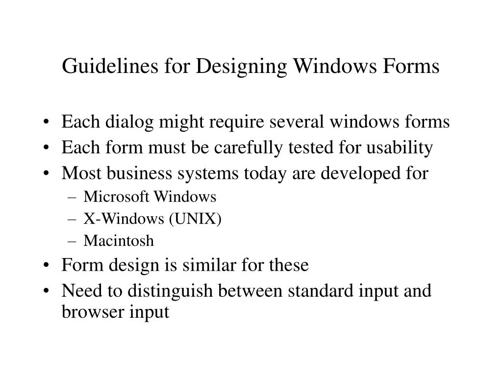Guidelines for Designing Windows Forms