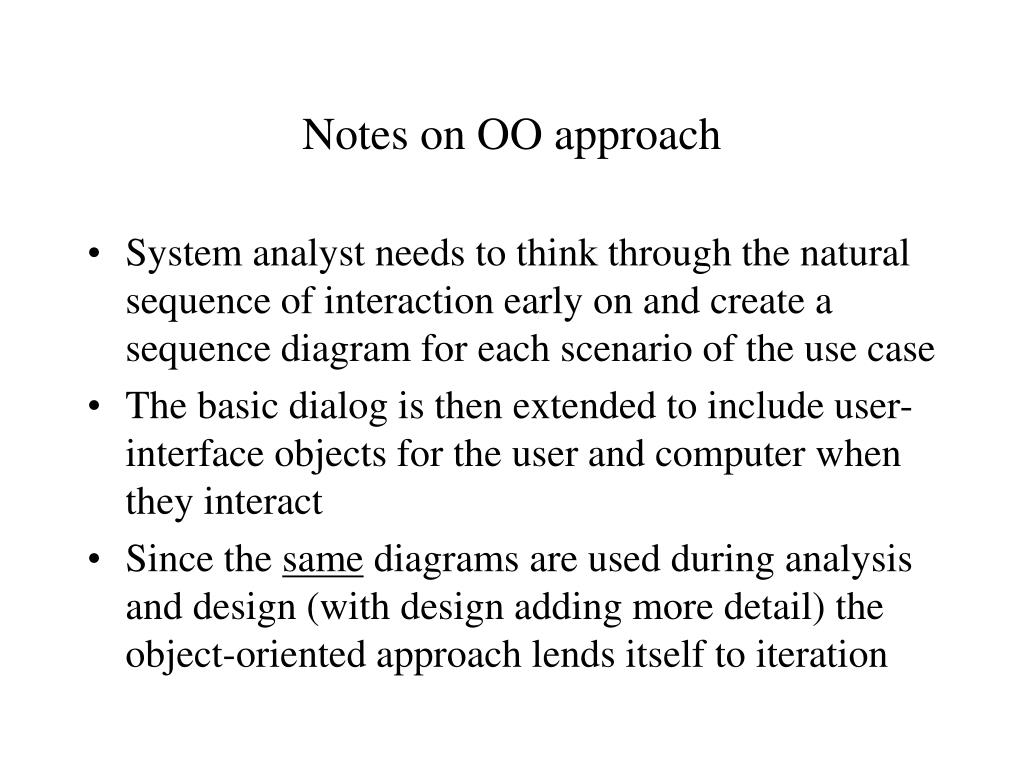 Notes on OO approach