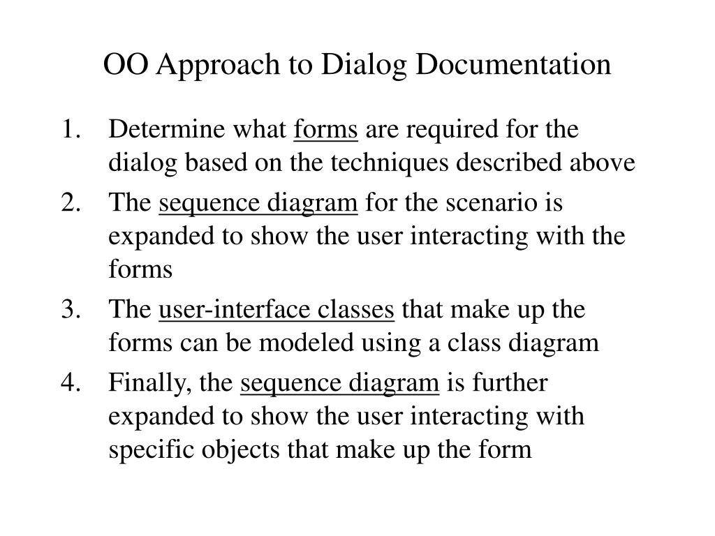 OO Approach to Dialog Documentation