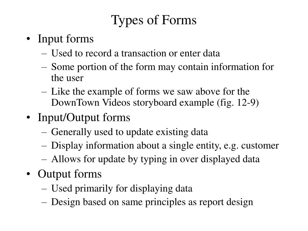 Types of Forms
