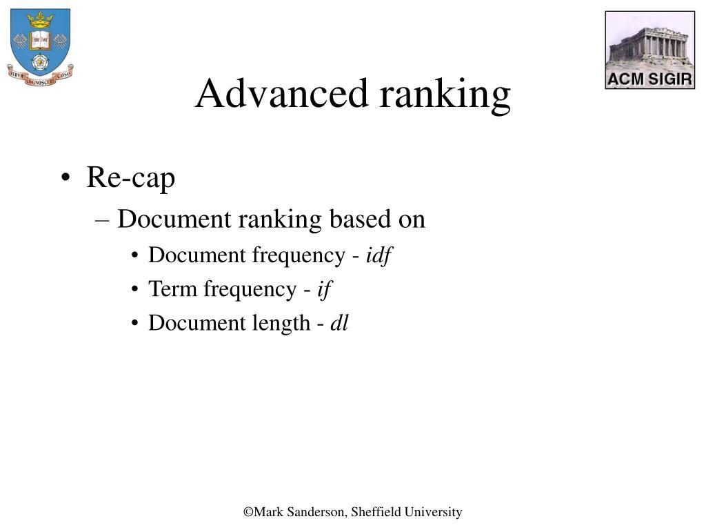Advanced ranking