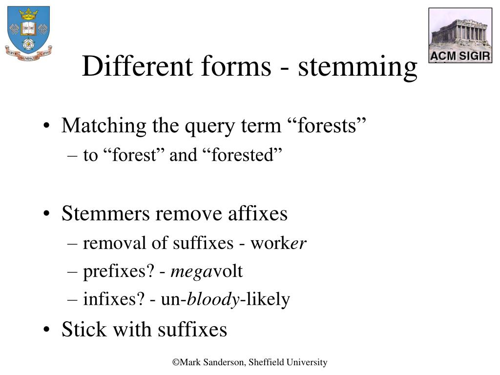 Different forms - stemming