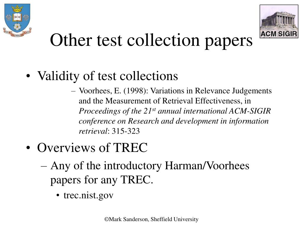 Other test collection papers