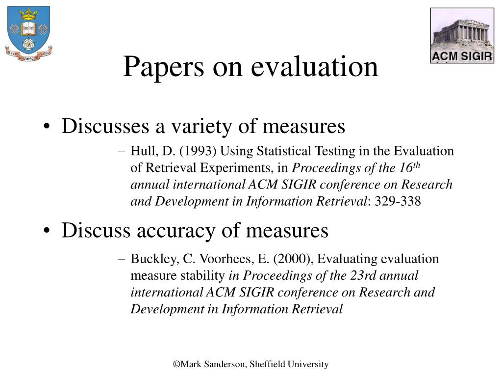 Papers on evaluation