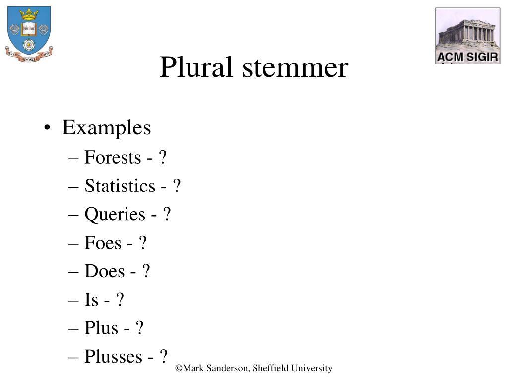 Plural stemmer