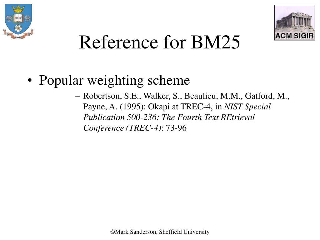 Reference for BM25