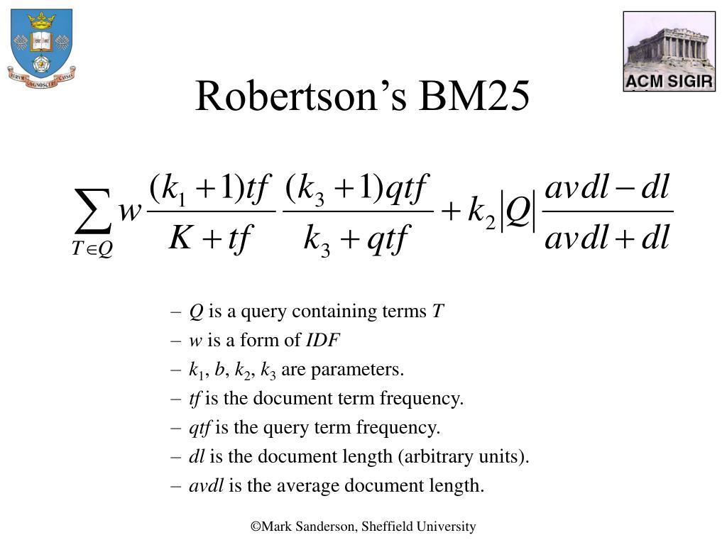 Robertson's BM25