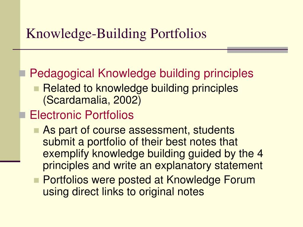 Knowledge-Building Portfolios