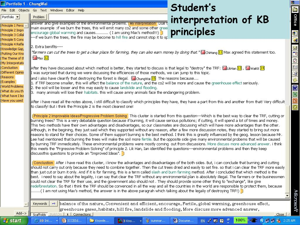 Student's interpretation of KB principles