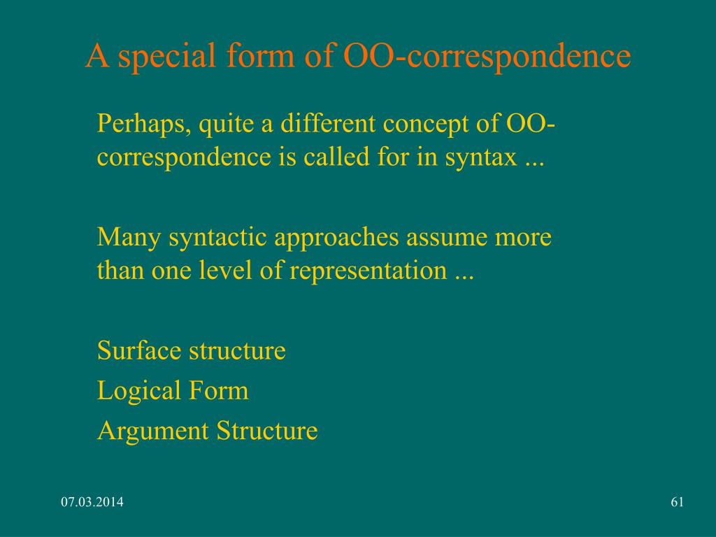 A special form of OO-correspondence