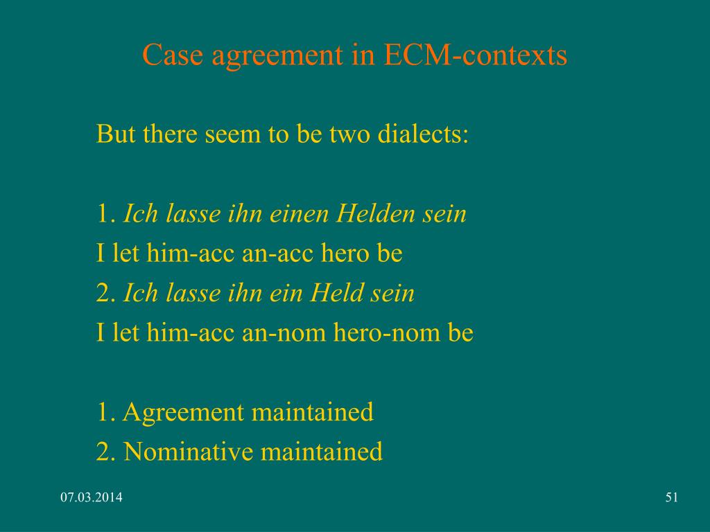 Case agreement in ECM-contexts