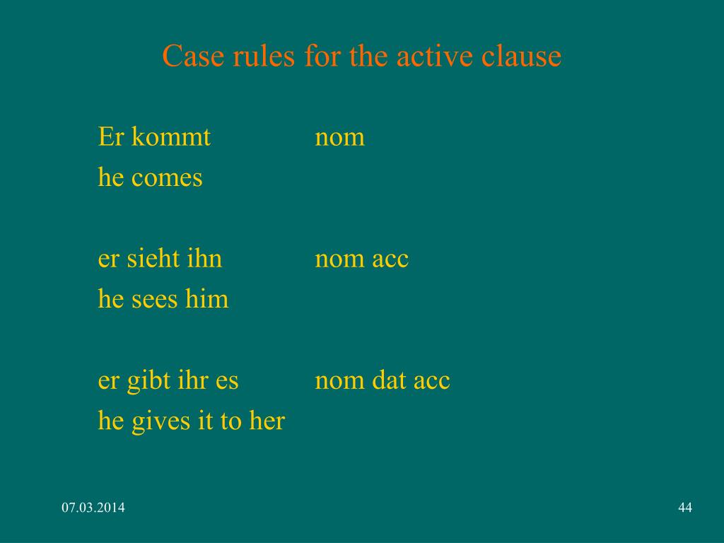Case rules for the active clause