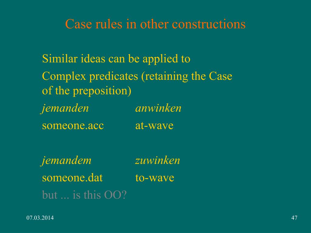 Case rules in other constructions