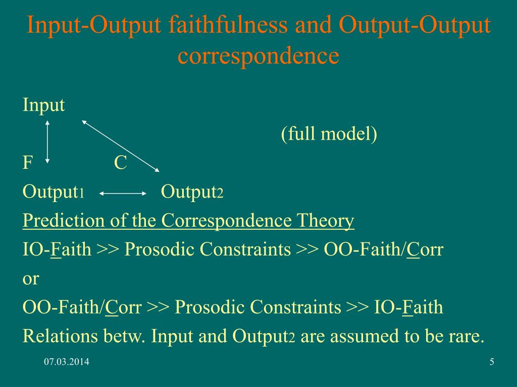 Input-Output faithfulness and Output-Output correspondence