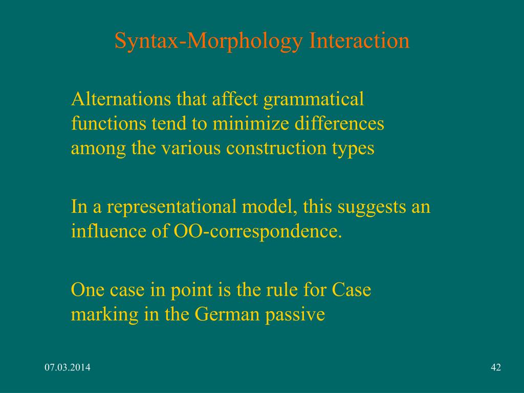 Syntax-Morphology Interaction