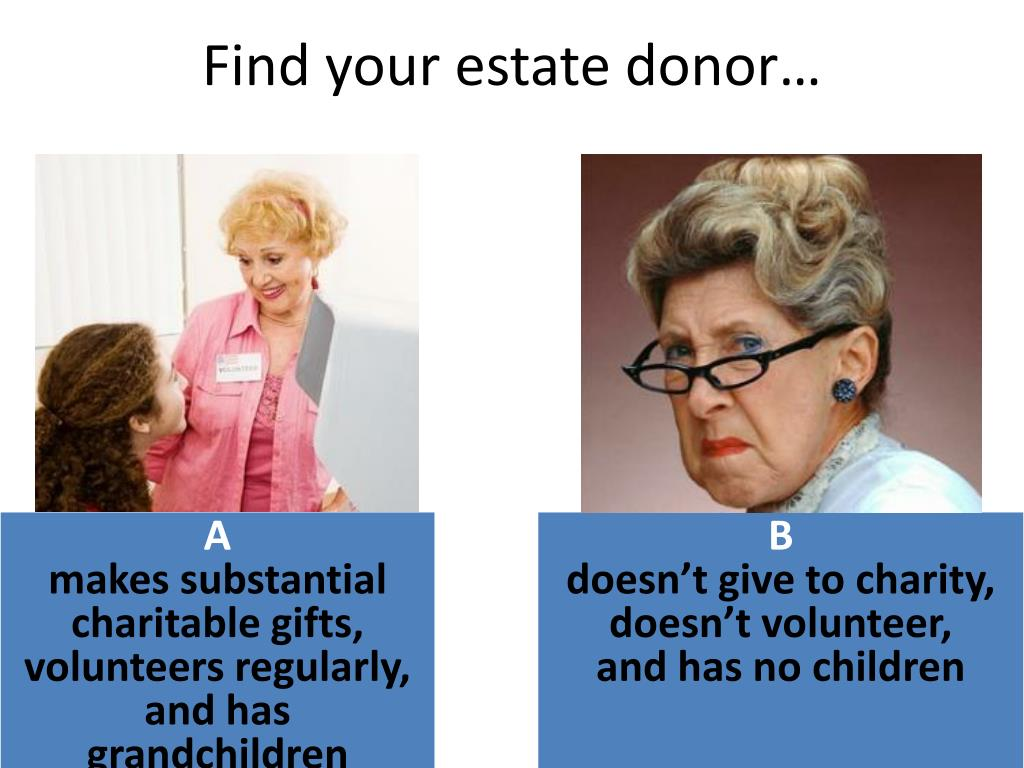 Find your estate donor…