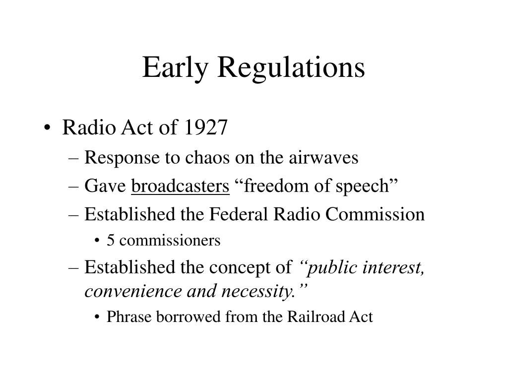 Early Regulations