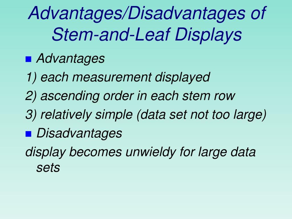 Advantages/Disadvantages of Stem-and-Leaf Displays