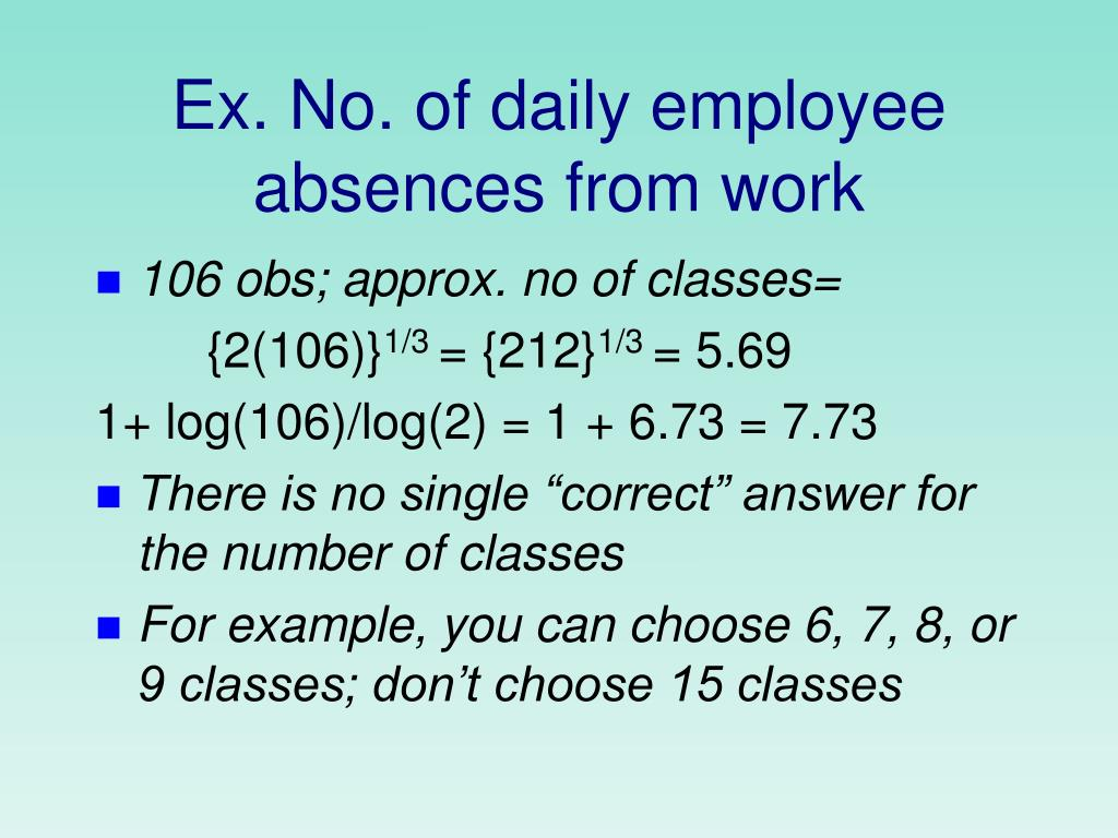 Ex. No. of daily employee absences from work