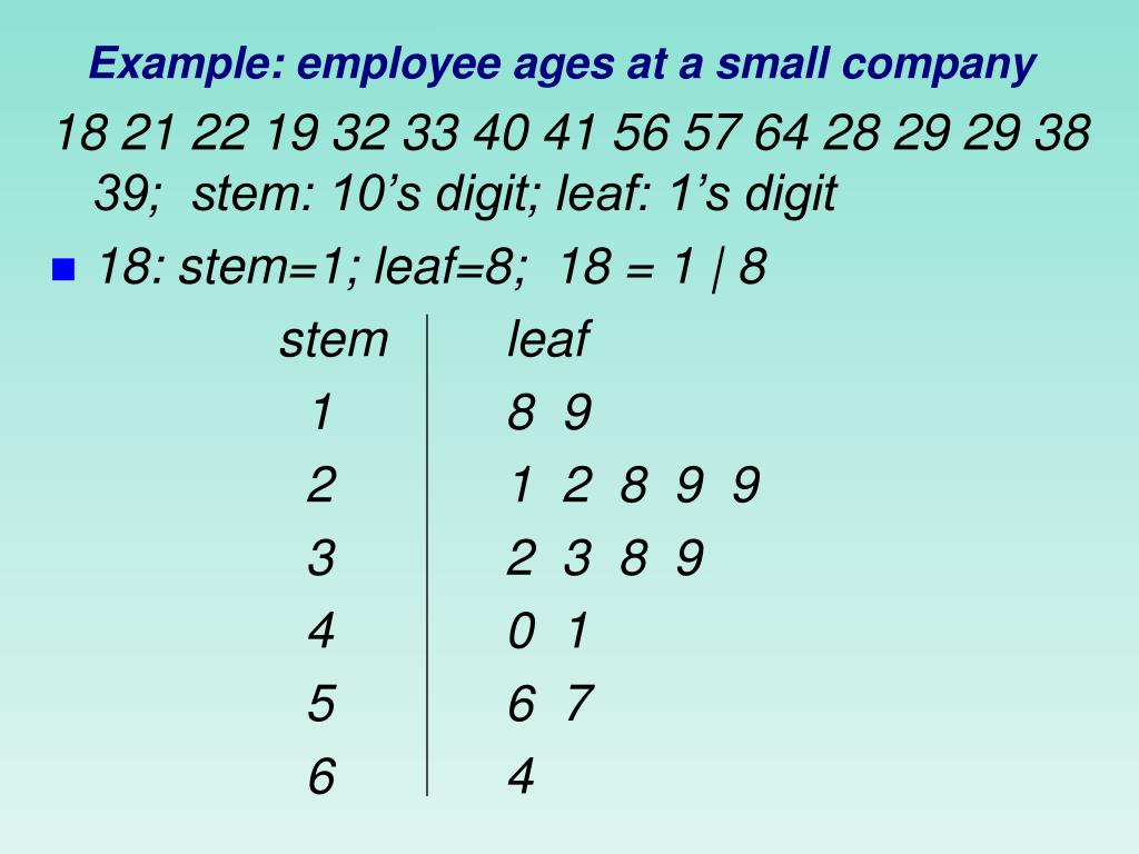 Example: employee ages at a small company
