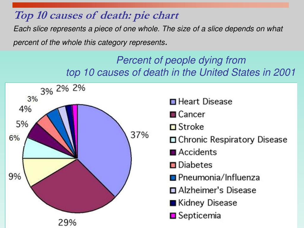 Top 10 causes of death: pie chart