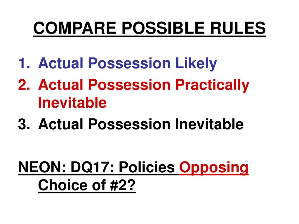 COMPARE POSSIBLE RULES