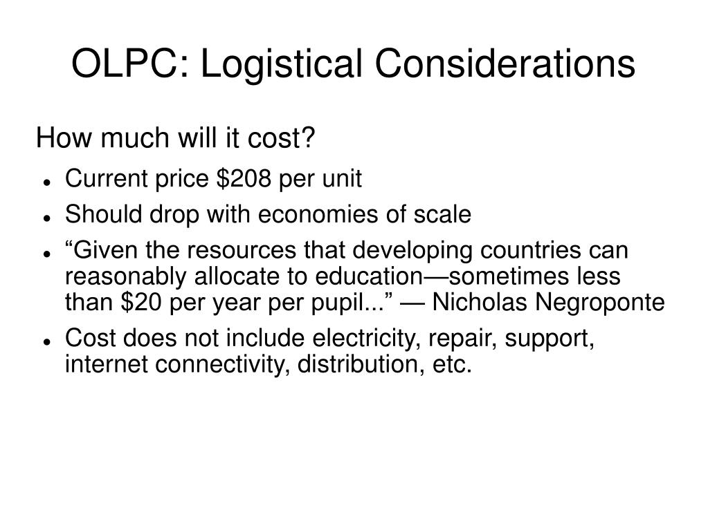 OLPC: Logistical Considerations