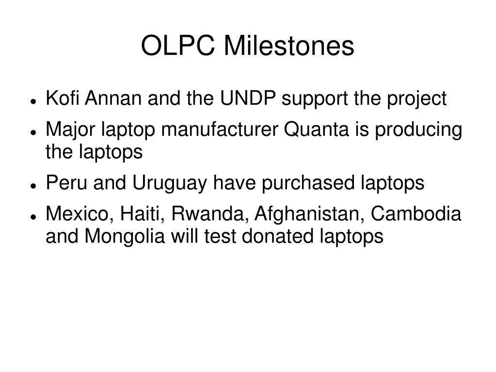OLPC Milestones
