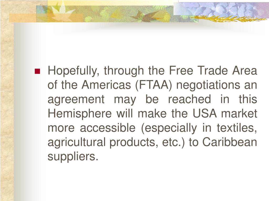 Hopefully, through the Free Trade Area of the Americas (FTAA) negotiations an agreement may be reached in this Hemisphere will make the USA market more accessible (especially in textiles, agricultural products, etc.) to Caribbean suppliers.