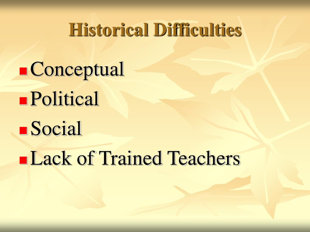 Historical Difficulties