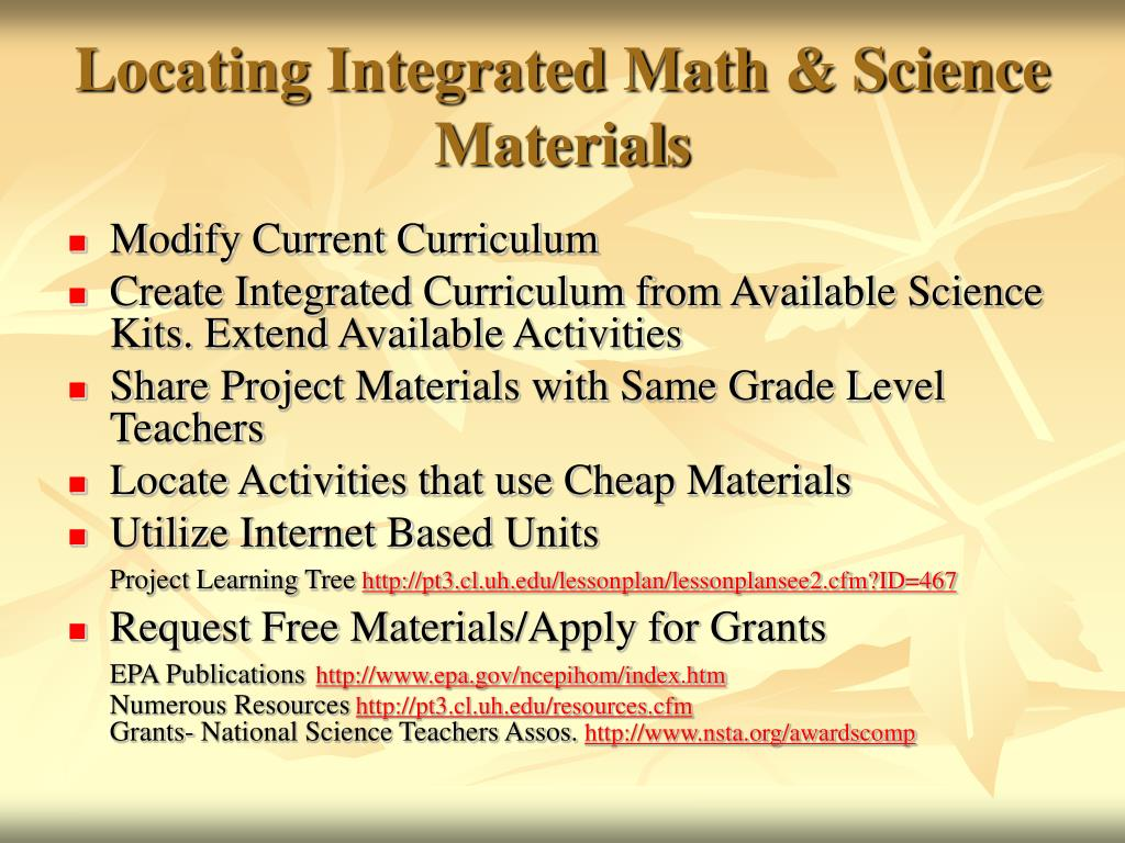 Locating Integrated Math & Science Materials