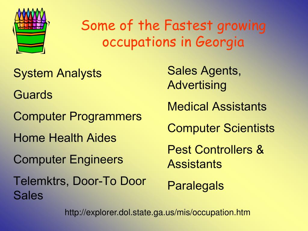 Some of the Fastest growing occupations in Georgia
