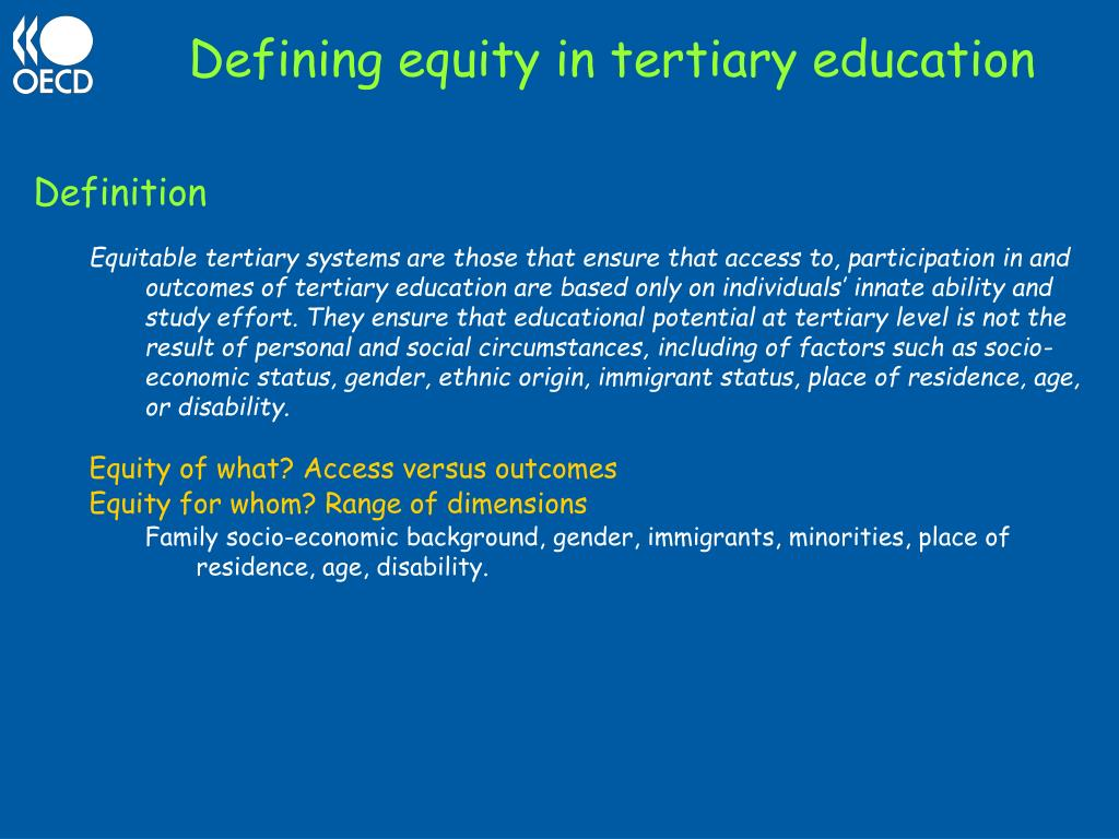 Defining equity in tertiary education