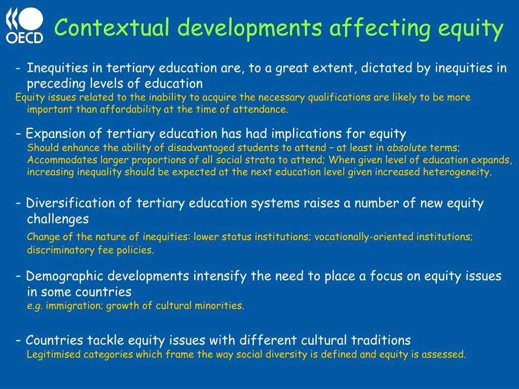 Contextual developments affecting equity