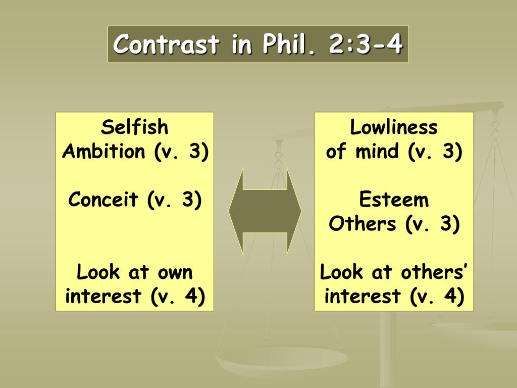 Contrast in Phil. 2:3-4