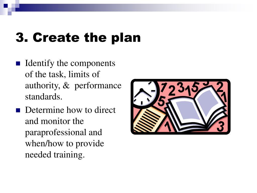 3. Create the plan