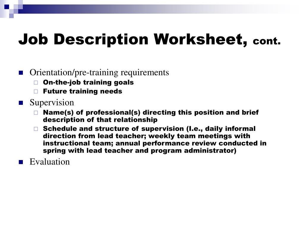Job Description Worksheet,