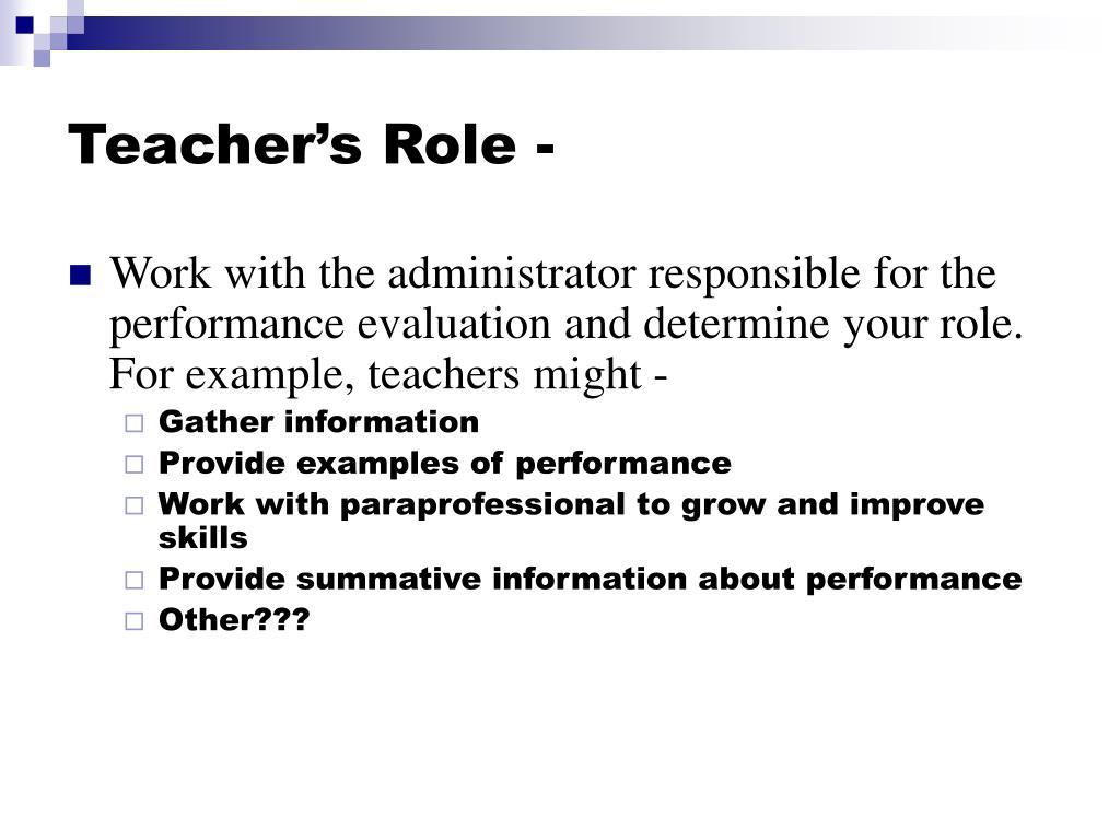 Teacher's Role -