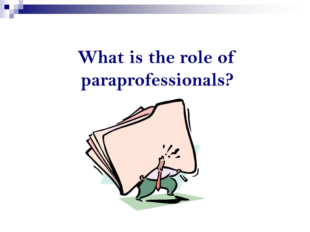 What is the role of paraprofessionals?