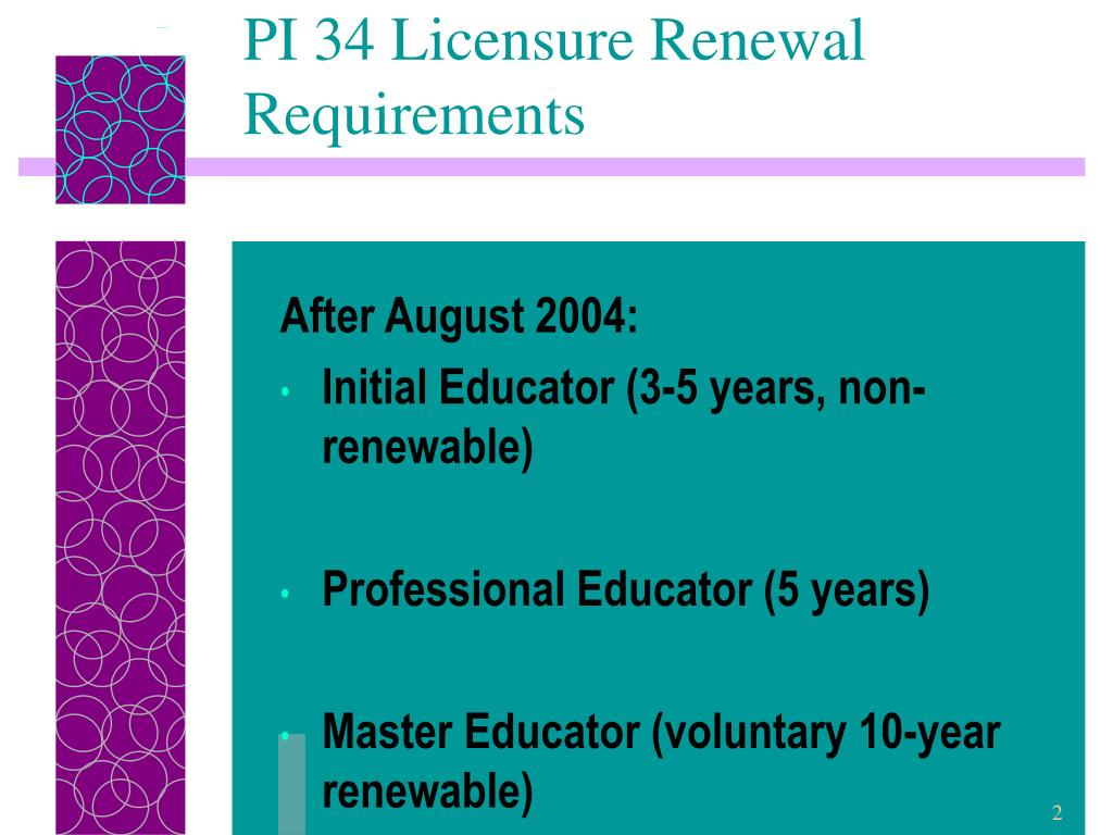 PI 34 Licensure Renewal Requirements