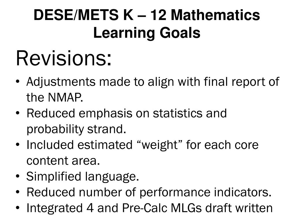DESE/METS K – 12 Mathematics Learning Goals