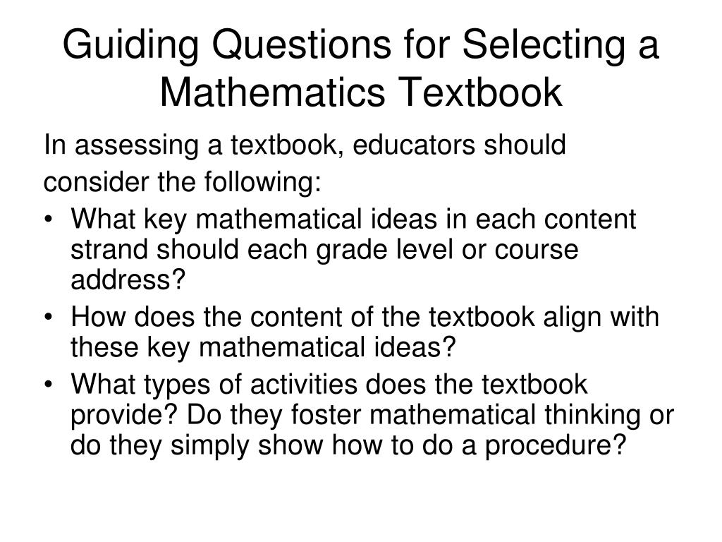 Guiding Questions for Selecting a Mathematics Textbook