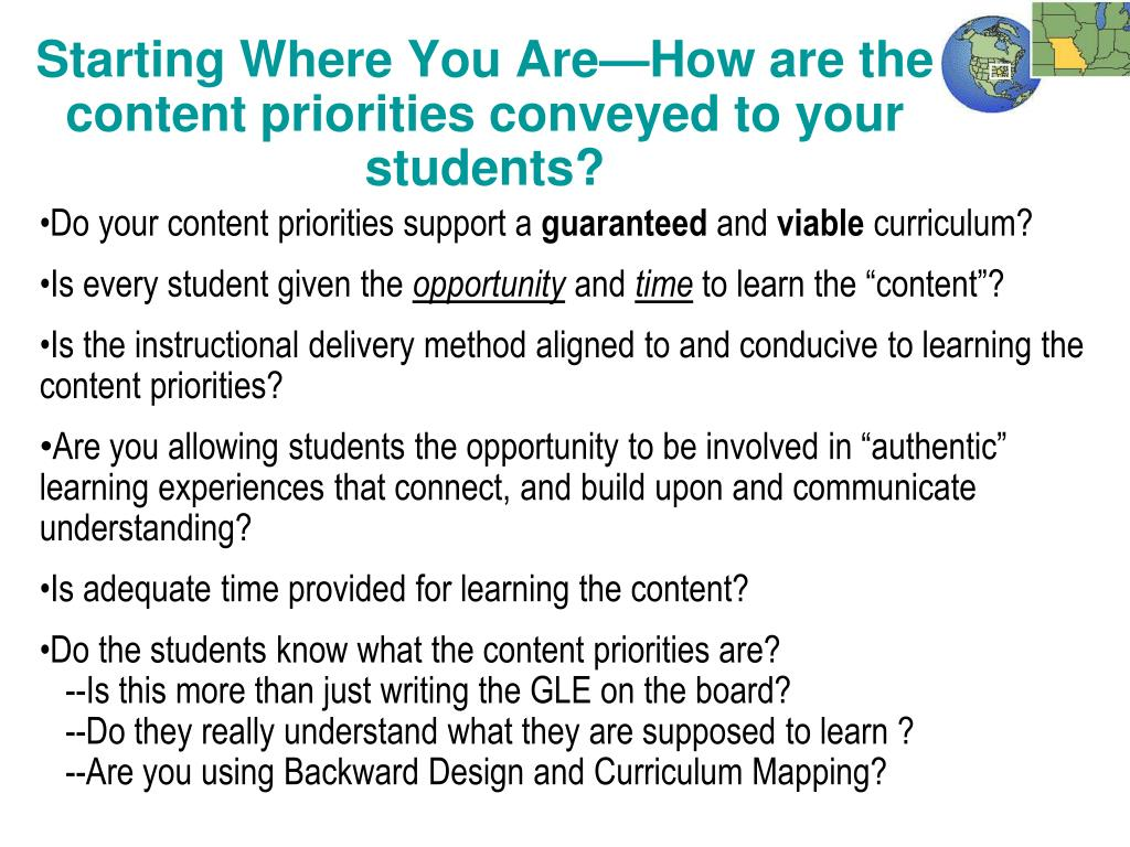 Starting Where You Are—How are the content priorities conveyed to your students?