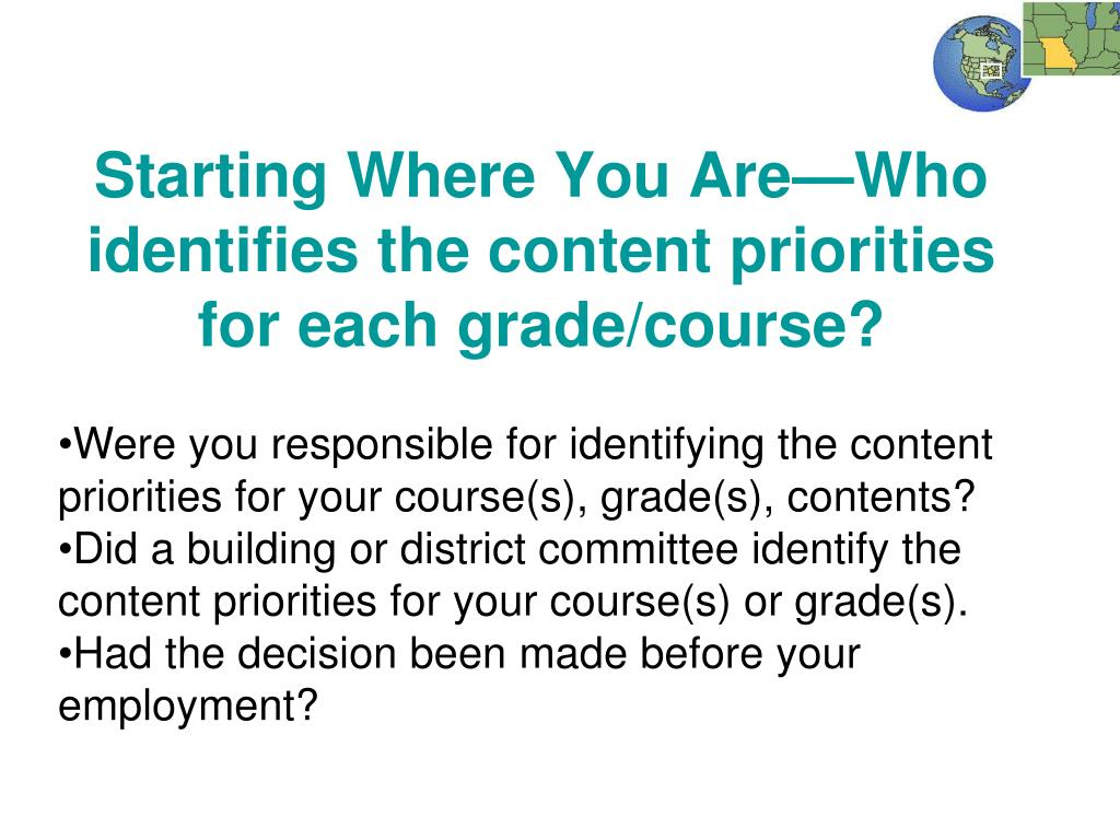Starting Where You Are—Who identifies the content priorities for each grade/course?